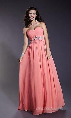 A-Line Chiffon Sweetheart Long Dress Charm86546
