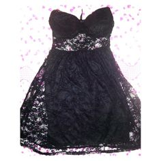 BRAND NEW- BLACK LACY SWEETHEART DRESS  Until end of SEPTEMBER 30th, Bundles are 20% OFF AND EVERYTHING IS at least 10 percent off !! Take advantagr of this ladies:))  ✌️A sexy and beautiful lacy black sweetheart neckline dress. Mid-section is see through as can be seen from the picture. I LOVE the see through part of this dress but unfortunately It does not fit me. ladies you will LOVE this dress if you love lace and see through and black ^.^  Dresses