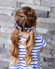 "507 Likes, 14 Comments - Tiffany ❤️ Hair For Toddlers (@easytoddlerhairstyles) on Instagram: ""3 front ponytails, combined into one and then split into pigtails. This is honestly only about a…"""