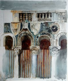 Giclee Print: Study of the Marble Inlaying on the Front of the Casa Loredan, Venice, September - October 1845 by John Ruskin : Art Et Architecture, Venice Painting, John Ruskin, Inspiration Art, A Level Art, Pre Raphaelite, Urban Sketching, Painting & Drawing, Watercolor Art