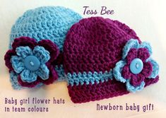 Baby Girl Hats Twins Photo Prop Twin Baby hats Football | Etsy Twin Baby Girls, Baby Girl Hats, Twin Babies, Girl With Hat, Twins, Baby Flower, Flower Hats, Twin Photos, Newborn Baby Gifts