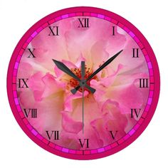 Pink Rose Wall Clock by www.zazzle.com/htgraphicdesigner* #zazzle #gift #giftidea #clock #pink #rose #spring #summer #wallclocks #mothersday