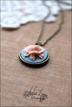 Rose Cabochon Necklace by nathalielynndesigns on Etsy, $12.00
