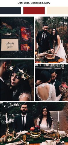 Dark blue, bright red, and ivory wedding color palette inspiration