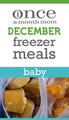 Freezer menu for baby - all the puree's you will need for feeding your 9-12 month in a month.