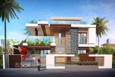 We are expert in designing ultra modern home designs Front Wall Design, Exterior Wall Design, Bungalow House Design, Modern House Design, Modern Architecture House, Architecture Design, Compound Wall Design, House Outside Design, Interior Design Renderings