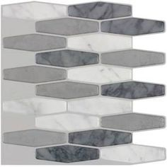 Peel&Stick Mosaics Peel and Stick Marble Long Hex Mosaic Composite Wall Tile (Common: 10-in x 10-in; Actual: 10-in x 8.93-in)