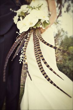 Bride's Dramatic & Unique Bouquet: White Phalaenopsis Orchids, Green Trailing Ivy & Other Greenery/Foliage + Gorgeous Pheasant Feathers ^^^^ Bouquet Bride, Feather Bouquet, Wedding Bouquets, Feather Art, Floral Wedding, Fall Wedding, Our Wedding, Dream Wedding, Corsage