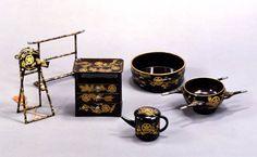 黒漆塗松竹梅橘葵紋蒔絵、化粧道具、弥千代姫の雛道具、江戸時代
