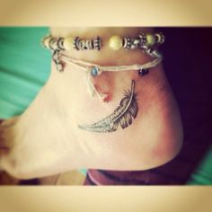 26+ Awesome Feather Ankle Tattoos
