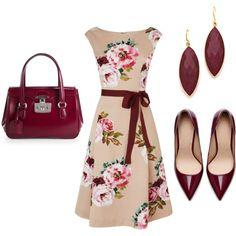 """Burgundy Floral"" by inmyopinion on Polyvore...my 800th Fashion pin!"