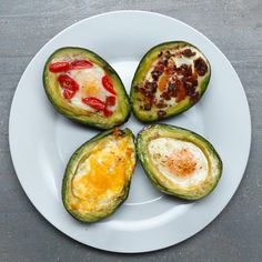 These Baked Avocado Eggs Are Literally The Most Perfect Breakfast Ever Which topping would you choose? Baked Avocado Eggs 4 Ways Here's a video showing you h. Avocado Breakfast, Low Carb Breakfast, Perfect Breakfast, Low Carb Recipes, Cooking Recipes, Healthy Recipes, Healthy Foods, Healthy Breakfast Recipes, Clean Eating Recipes