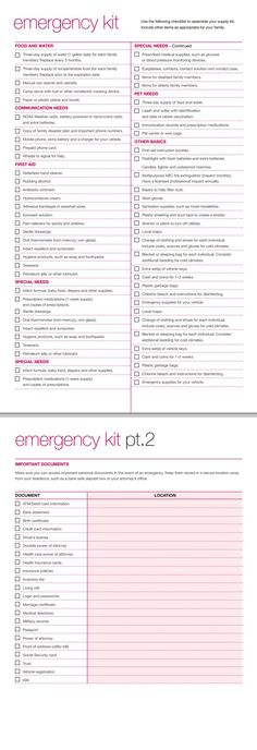 Use the following checklist to assemble your emergency supply kit. NOTE: Remember that your emergency kit may include other items as appropriate for your family.