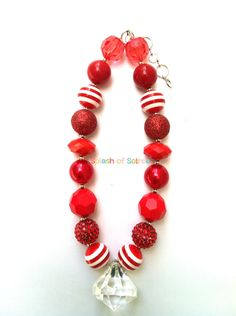 Little Girls Red Chunky Bead NecklaceGirls by SplashofSoiree, $16.95