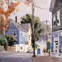 """Mike Kowalski on Instagram: """"""""The Artist of Rocky Neck"""" watercolor 16 x 12 I set up my easel outside this old-fashioned sandwich shop. After I set up and before I had…"""" Watercolor Landscape, Landscape Paintings, Watercolor Art, Sandwich Shops, Easel, Photo Art, Photo Ideas, The Outsiders, Sandwiches"""