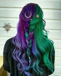 Purple hair styles, purple and green hair, green hair ombre, green wig, Hair Dye Colors, Cool Hair Color, Bright Hair Colors, Purple And Green Hair, Ombre Green, Purple Streaks, Green Hair Dye, Blue Hair, Green Wig