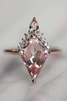 Rose Gold Morganite Engagement Ring Peach Pink Morganite Ring Unique Art Deco Engagement Ring - Fine Jewelry Ideas - Informations About Rose Gold Morganite Engagement Ring Peach Pink Morganite Ring Unique Art Dec - Deco Engagement Ring, Engagement Ring Settings, Vintage Engagement Rings, Diamond Engagement Rings, Solitaire Diamond, Solitaire Rings, Non Diamond Wedding Rings, Morganite Engagement Ring Pear, Large Diamond Rings