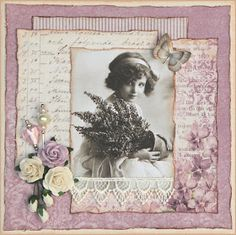 I like the idea of layering different papers in this way - scrapbook layout inspiration.love the flower and butterfly embellishments, and lace as well. Would be nicely suited to 12 x 12 wall frames Heritage Scrapbook Pages, Wedding Scrapbook Pages, Scrapbook Page Layouts, Scrapbook Cards, Photo Layouts, Travel Scrapbook, Vintage Wedding Cards, Vintage Cards, Scrapbooking Vintage