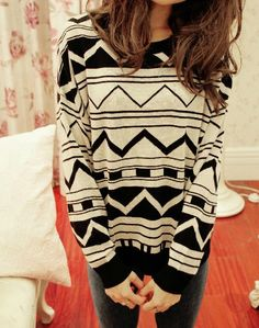 White & Black Aztec Sweater from tulitajean Aztec Sweater Cardigan, Tribal Print Sweater, Loose Sweater, Pretty Outfits, Cute Outfits, Casual Outfits, Cute Fashion, Hipster Fashion, Street Fashion