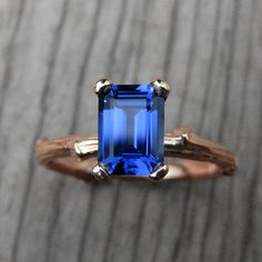 Emerald Blue Sapphire Twig Engagement Ring: by KristinCoffin