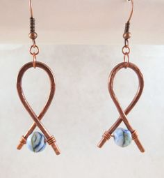 BokBok Jewelry - Handformed Copper Wire Earrings with Glass Beads