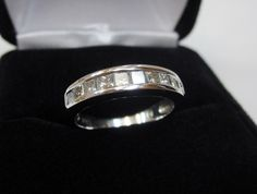Solid 950 Platinum Channel Set Princess Natural Diamond Wedding Band Ring Size 6 #WithDiamonds