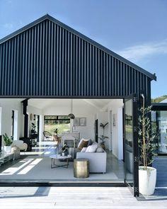 Black Barn, New Zealand, interior design nz Interior Design Nz, Modern Barn House, Barn House Design, Black Barn, Shed Homes, Kit Homes, Barns Sheds, Pole Barns, Building A House
