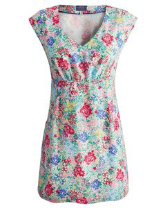 Joules Womens Sleeveless Tunic, Creme Chelsea Floral.                     If a piece of clothing captures the spirit of long, balmy days then this tunic has to be it.  As light as a summer breeze and the perfect canvas for our unique seasonal hand-drawn prints.  Crafted from soft viscose, concealed elastic to the back gives this tunic a flattering shape.
