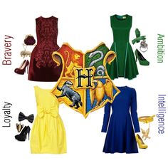 """""""Hogwarts Houses"""" by goldencages on Polyvore"""
