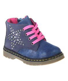 Look at this Angus & Angel Navy Studded Ankle Boot by Angus & Angel Studded Ankle Boots, Baby Couture, Shopping Spree, Little Ones, Hiking Boots, Lace Up, Navy, Sneakers, Angel
