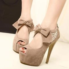 Sexy Hollow Lace Bow Platform Peep Toe High Heel Shoes | Women's Heels | Women's Shoes- ByGoods.Com