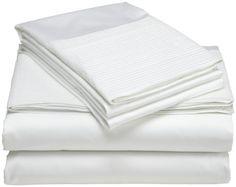 Pinzon Pleated Hem 400-Thread-Count 100-Percent Egyptian Cotton Sheet Set, Queen, Cloud Pinzon by Amazon.com