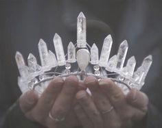 tiara crown made of rock quartz crystal points. Circlet, Tumblr Outfits, Ice Queen, Snow Queen, Tiaras And Crowns, Schmuck Design, Wiccan, Wicca Witchcraft, Magick