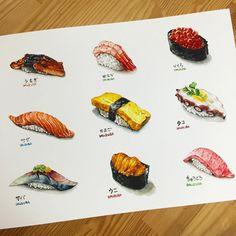 Food Design, Texas Chili, Food Sketch, Watercolor Food, Sushi Art, Food Painting, Food Drawing, Kitchen Art, Food Illustrations