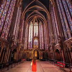 Stunning! An empty St Chapelle Chapel. Paris, France. Photography by @marc nouss