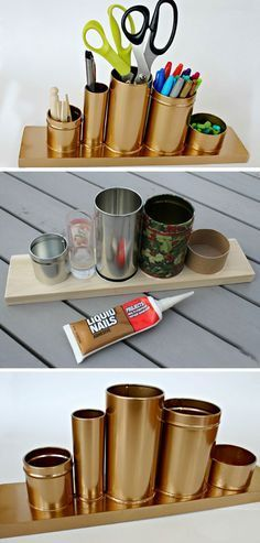 Craft Room Organization & Storage Ideas - For Creative Juice - Home Decor - DIY Gold Pencil Holder. Make this awesome gold pencil or desk holder with crap stuff laying around - Upcycled Crafts, Diy And Crafts, Vbs Crafts, Gold Diy, Diy Rangement, Small Space Storage, Creation Deco, Ideias Diy, Diy Dorm Room