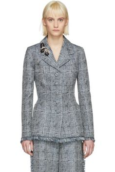 Erdem - Blue & White Jacey Single-Breasted Blazer