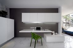Modern Home Office // white minimalist desk at the Baan Citta house by THE XXS
