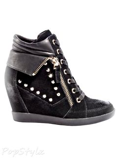 Hitzo Wedge Sneakers, Take your street style to chic new heights (literally) with our latest trend-topping wedge sneakers. Ultra-cool studded and zippered trim add the edgy accents every wardrobe needs. Hidden Wedge Sneakers, Black Wedge Sneakers, Wedge Boots, Wedged Sneakers, Platform Sneakers, Navy Blue Shoes, Black Suede Shoes, Guess Shoes, Me Too Shoes