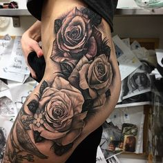 I always enjoy doing roses! Finished these today! #rosetattoo #rosestattoo #hiptattoo #blackandgreytattoo #blackandgraytattoo #andyblancotattoo #andyblanco #tattoooftheday