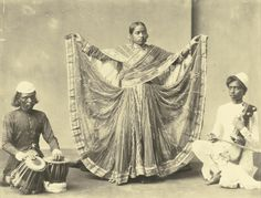 Shepherd & Robertson.A NAUTCH GIRL WITH TWO MUSICIANS. [1870S],  ALBUMEN PRINT (160 X 207MM.); WITH: [UNIDENTIFIED]. A GROUP OF INDIAN MUSICIANS, [1880S], ALBUMEN PRINT (190 X 284MM.); BOTH MOUNTED, FRAMED AND GLAZED