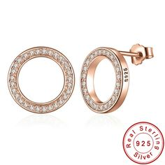 Aliexpress.com : Buy Genuine 925 Sterling Silver Forever Rose & Clear CZ Round Circle Stud Earrings For Women Fashion Jewelry from Reliable circle stud earrings suppliers on ModaOne Jewellery Store