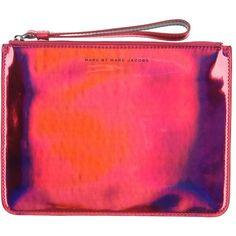 Marc By Marc Jacobs Pouch featuring polyvore, fashion, bags, handbags, clutches, fuchsia, zipper purse, red purse, zip pouch, marc by marc jacobs purse and fuschia purse