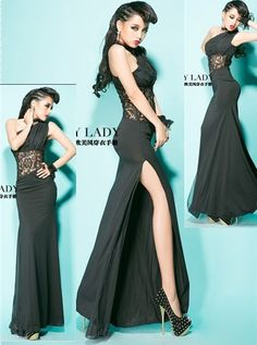 Aliexpress.com : Buy Free Shipping 2013 fashion Sexy elegant lace cutout patchwork one shoulder long dress,Black Chiffon maxi dress with high slit on ChinaGifts. $43.77