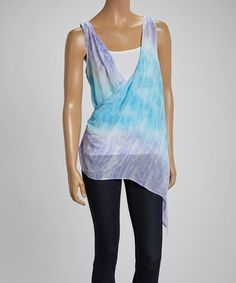 Look what I found on #zulily! Blue & Purple Tie-Dye Swing Top by LOVE STITCH #zulilyfinds