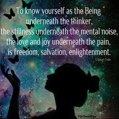 Know yourself as the stillness beneath the noise  ~ Eckhart Tolle