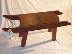 Antique red sled repurposed into side or coffee table on Etsy, $245.00