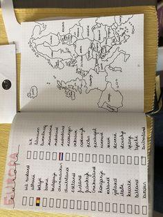 Bullet Journal Voyage, Bullet Journal Travel, Bullet Journal Notebook, Bullet Journal Ideas Pages, Bullet Journal Inspiration, Europe Map Travel, Europe Destinations, Voyage Europe, Travel Journal Scrapbook