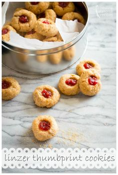 Raspberry Almond Linzer Thumbprint Cookies a healthier version of a classic Holiday cookie