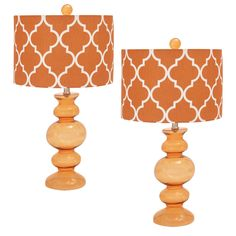 "Urban Designs Solar Orange Glass 26"" Table Lamp with Shade - Set of 2 #UrbanDesigns #Contemporary"